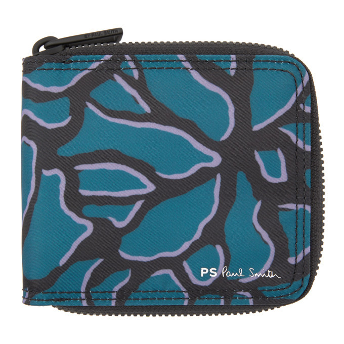 Photo: PS by Paul Smith Blue Climbing Ivy Zip Wallet