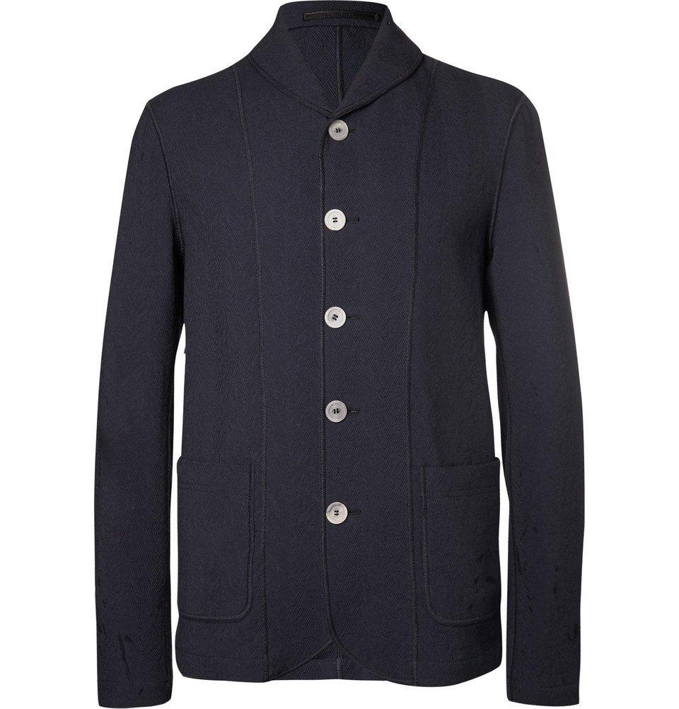 Giorgio Armani - Navy Shawl-Collar Textured Cotton-Blend Blazer - Men - Navy