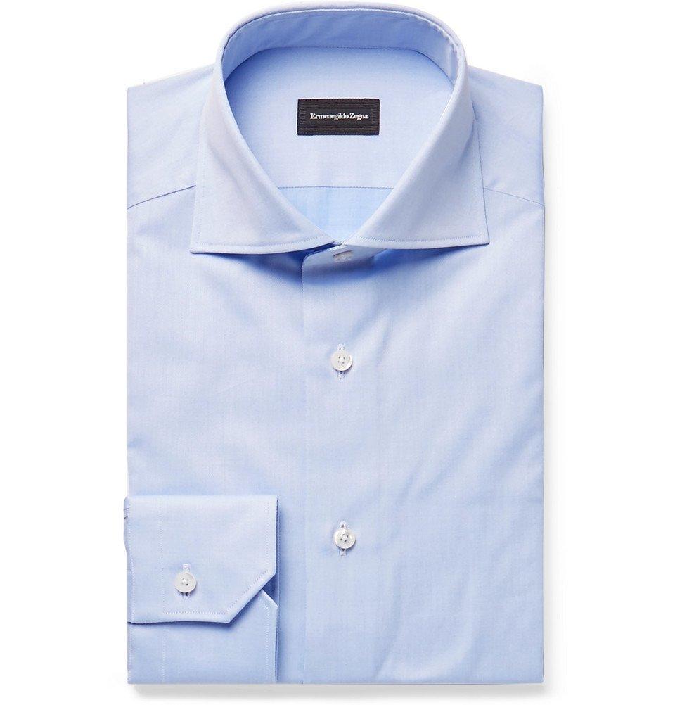 Photo: Ermenegildo Zegna - Light-Blue Cutaway-Collar Cotton Shirt - Blue