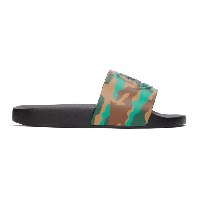 Photo: Moncler Black Camo Basile Slides