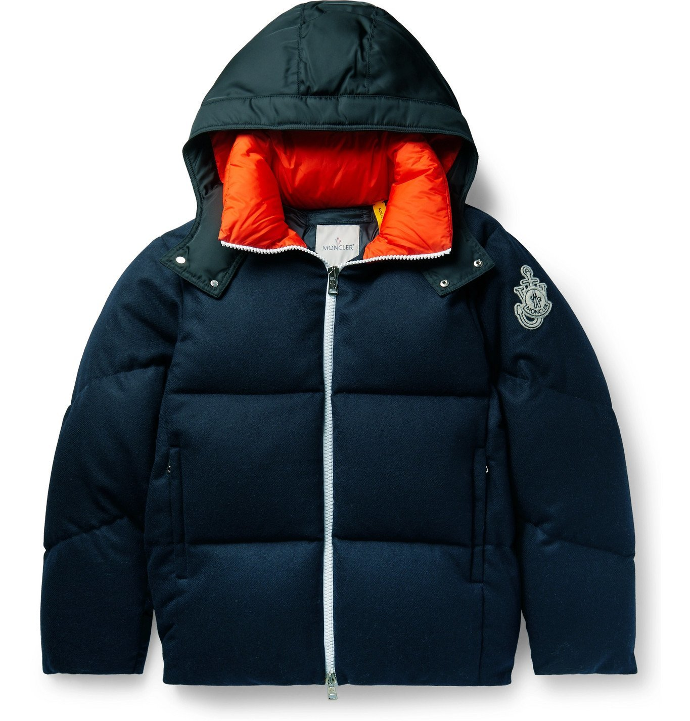 Photo: Moncler Genius - 1 Moncler JW Anderson Logo-Appliquéd Shell-Trimmed Quilted Wool-Flannel Hooded Down Jacket - Blue