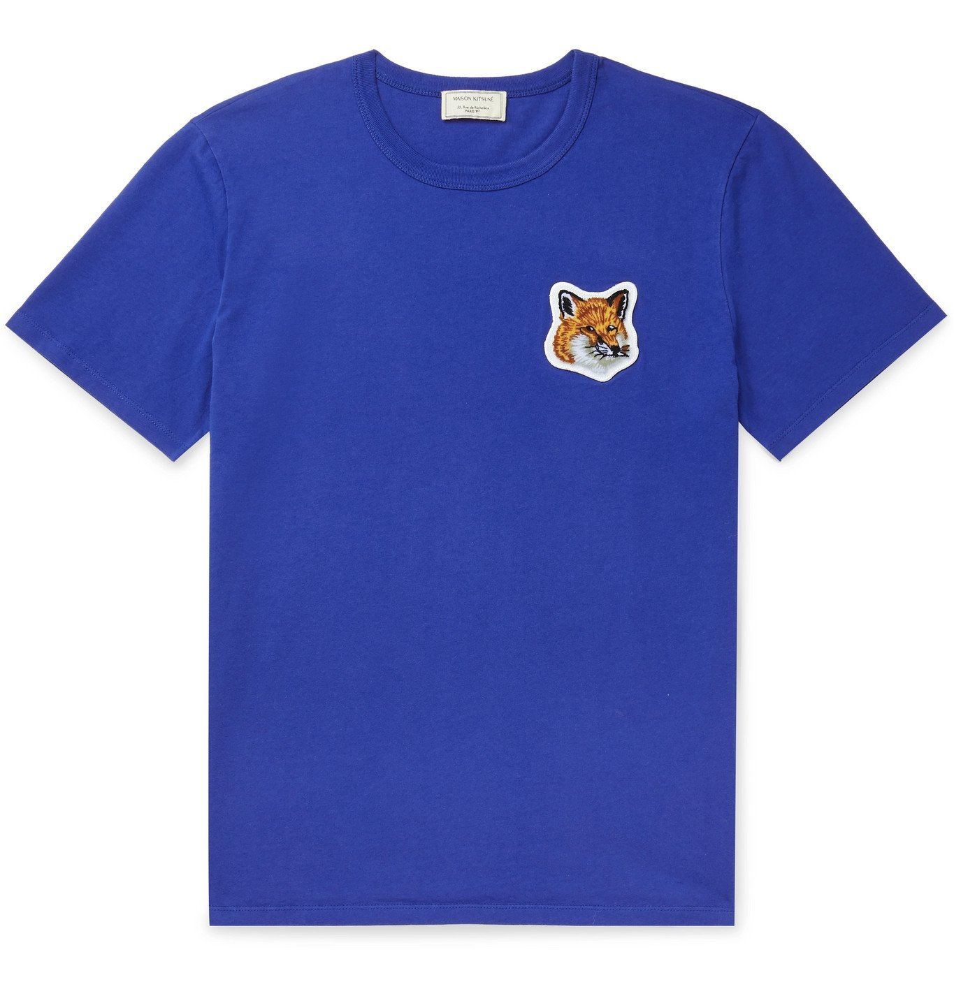 Photo: Maison Kitsuné - Logo-Appliquéd Cotton-Jersey T-Shirt - Blue