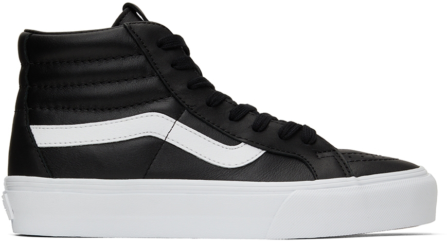 Photo: Vans Black Leather Sk8-Hi Reissue VLT LX Sneakers