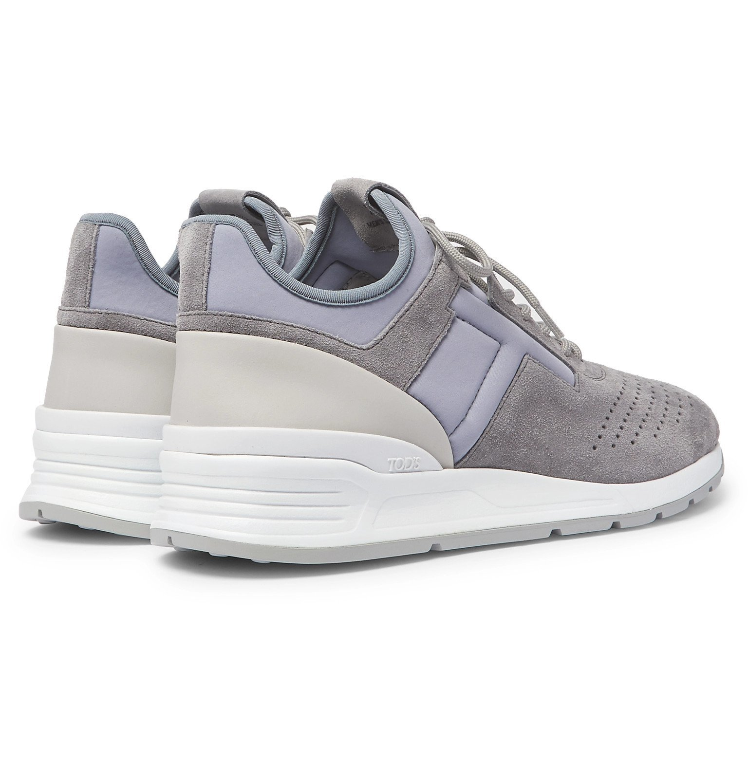 Tod's - Sportivo Leather-Trimmed Suede and Neoprene Sneakers - Gray