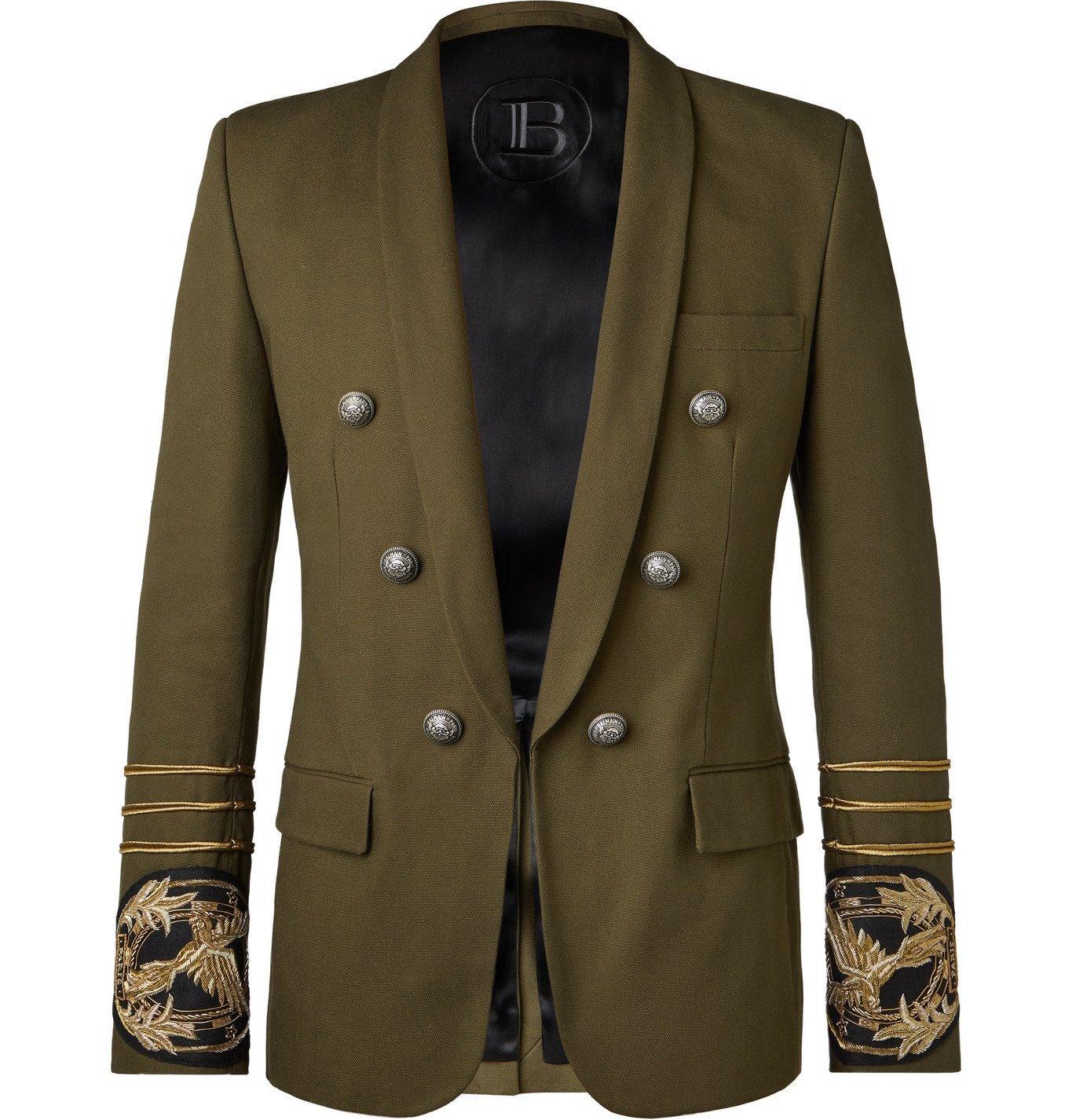 Photo: Balmain - Army-Green Slim-Fit Embellished Cotton-Canvas Blazer - Green