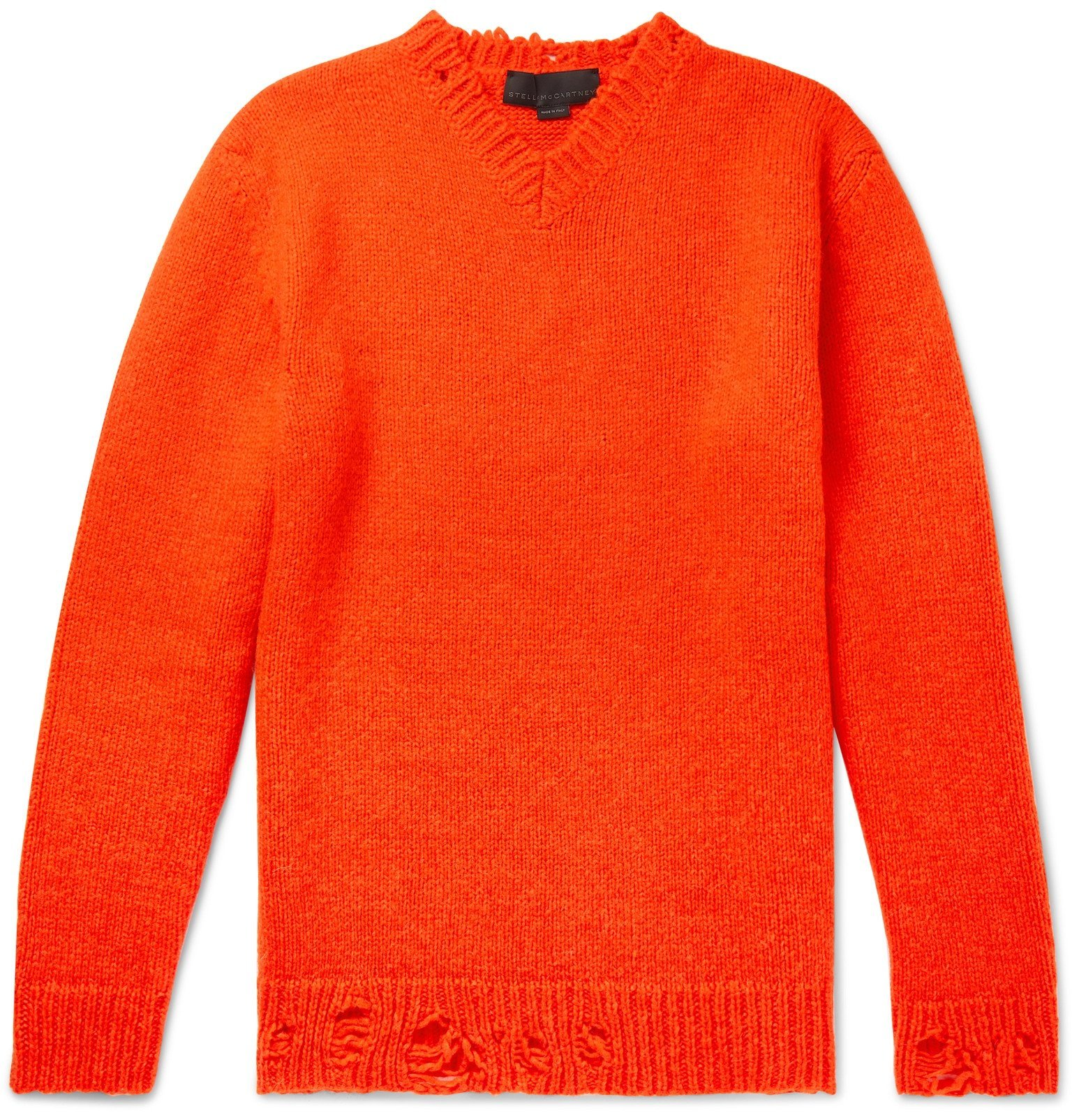 Photo: Stella McCartney - Distressed Alpaca-Blend Sweater - Orange