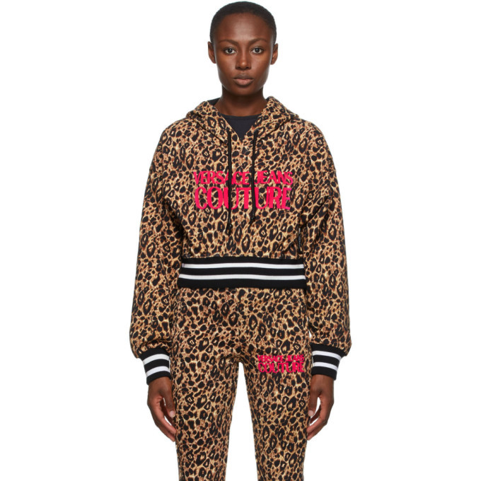 Photo: Versace Jeans Couture Beige and Black Leopard Logo Hoodie