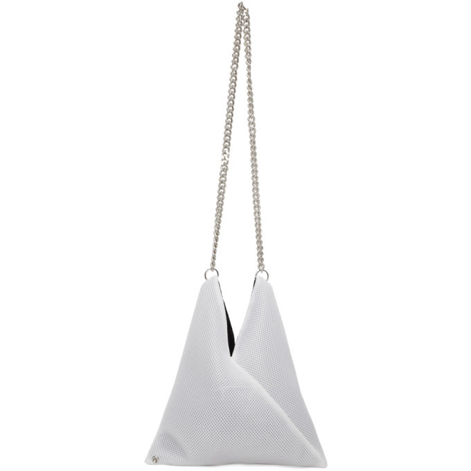 Photo: MM6 Maison Margiela White Mesh Triangle Shoulder Bag