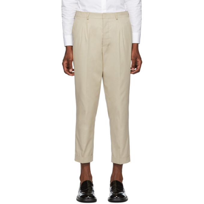 Photo: AMI Alexandre Mattiussi Beige Pleated Carrot Pants