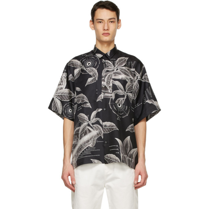 Photo: Givenchy Black Silk Floral Schematics Short Sleeve Shirt
