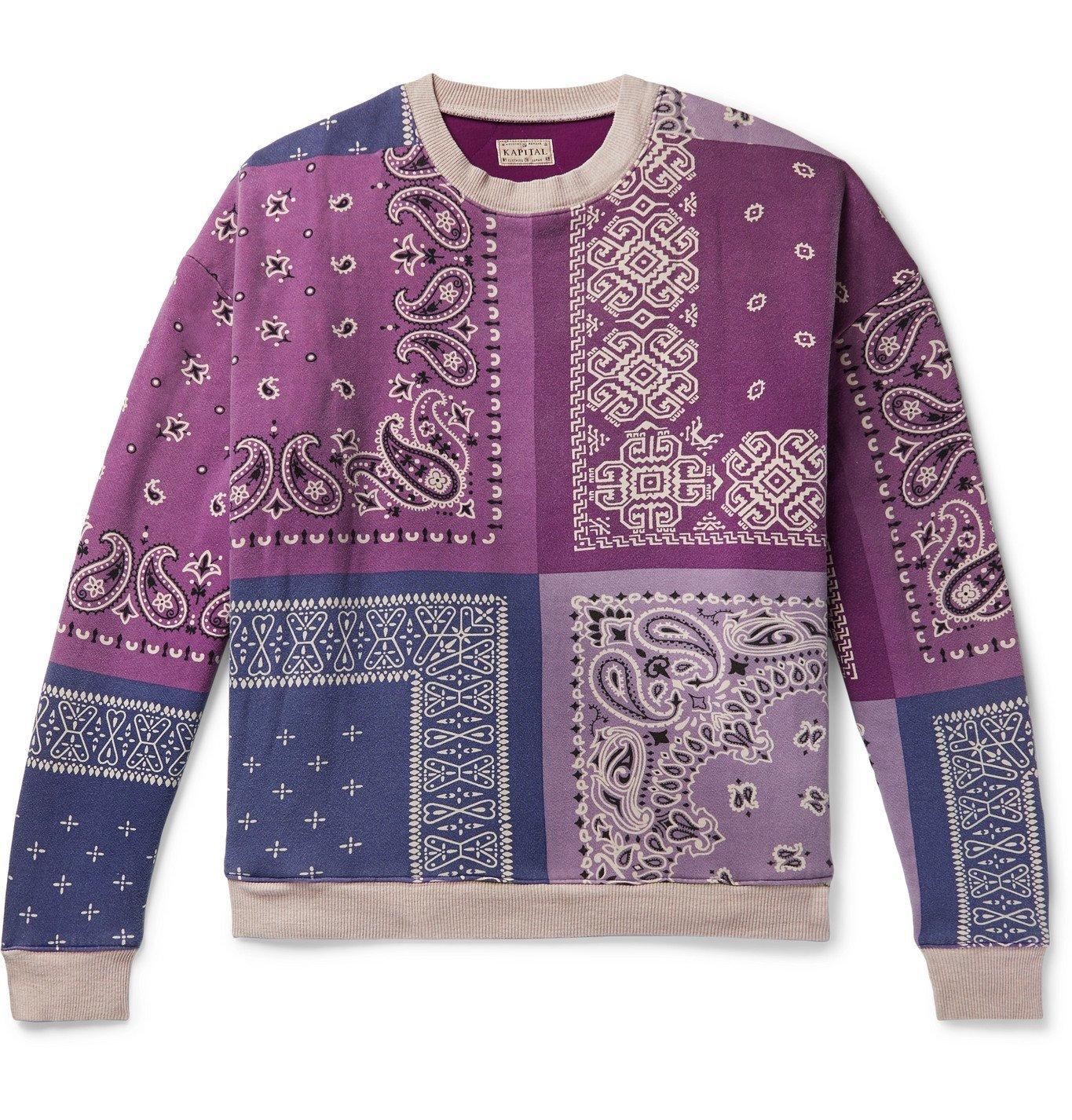 Photo: KAPITAL - Bandana-Print Fleece-Back Cotton-Jersey and Quilted Shell Sweatshirt - Purple