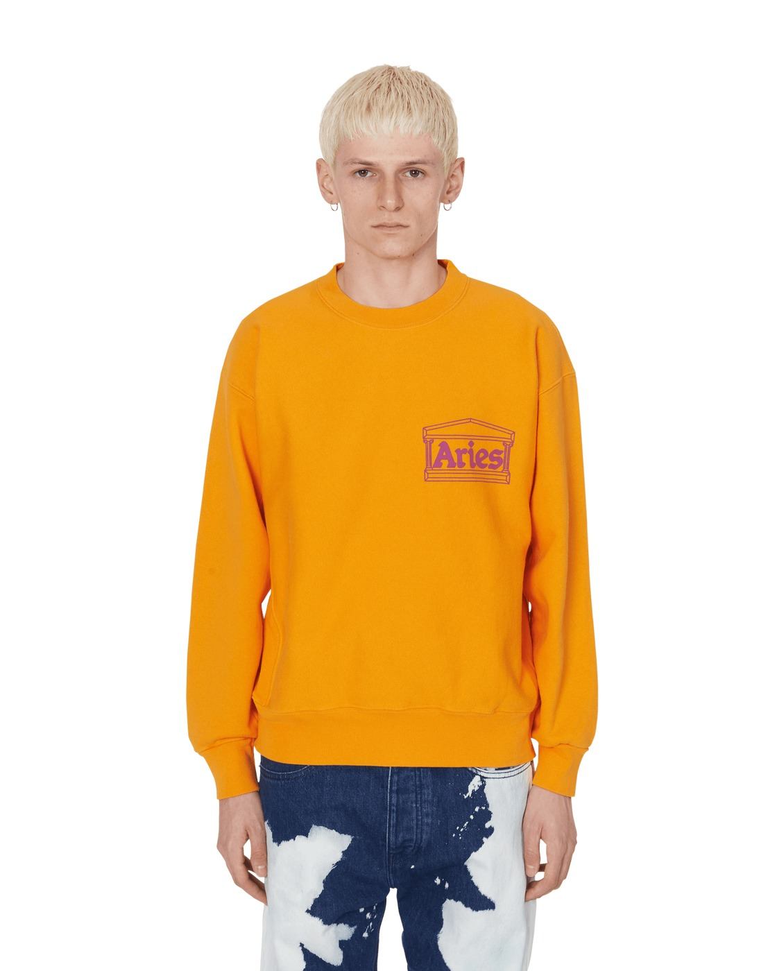 Photo: Aries Classic Temple Crewneck Sweatshirt Orange