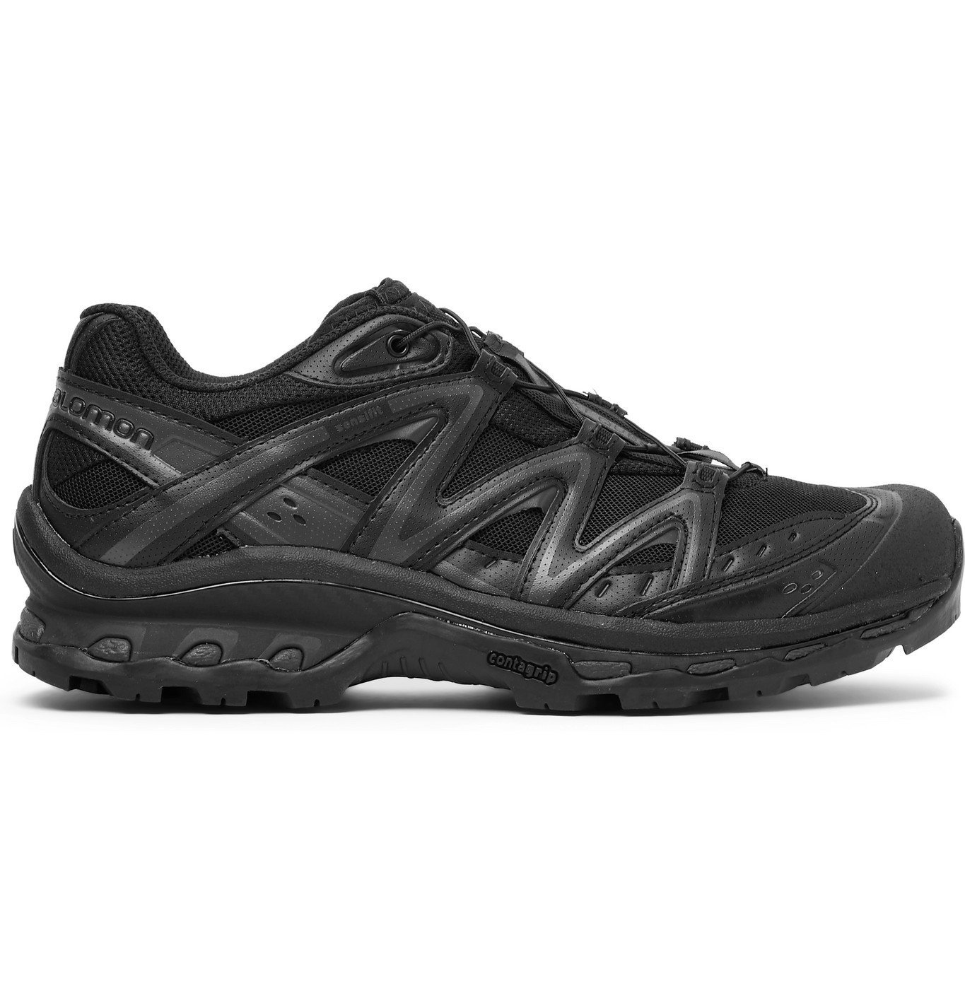 Photo: Salomon - XT-Quest ADV Mesh and Perforated Leather Running Sneakers - Black