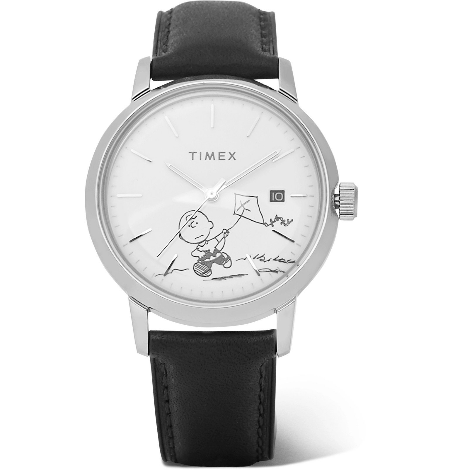 Photo: Timex - Peanuts Marlin Stainless Steel and Leather Watch - White