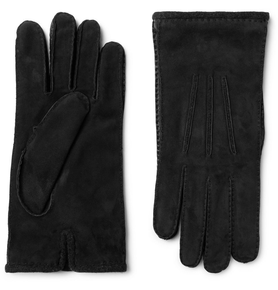 Photo: Loro Piana - Damon Baby Cashmere-Lined Suede Gloves - Black