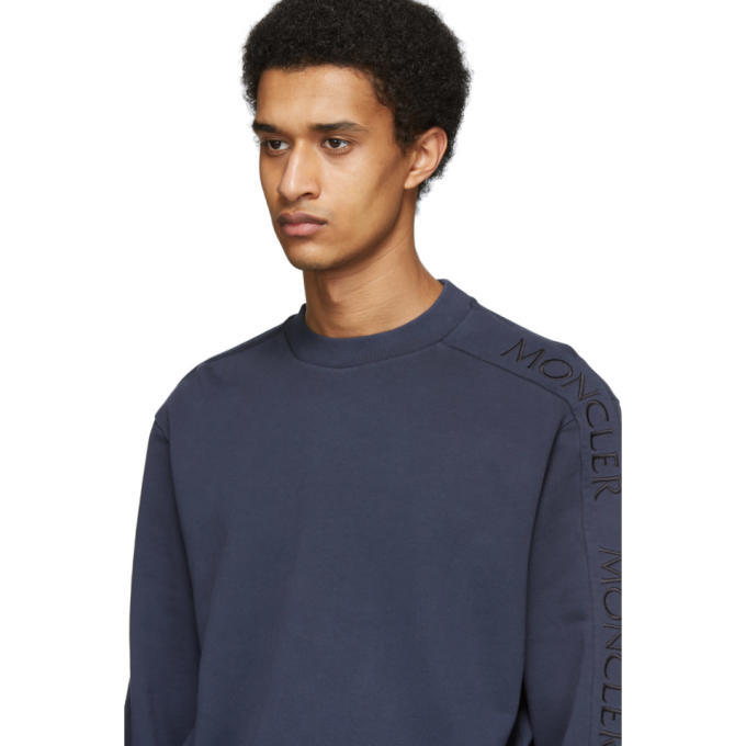 Moncler Blue Embroidered Logo Sweater