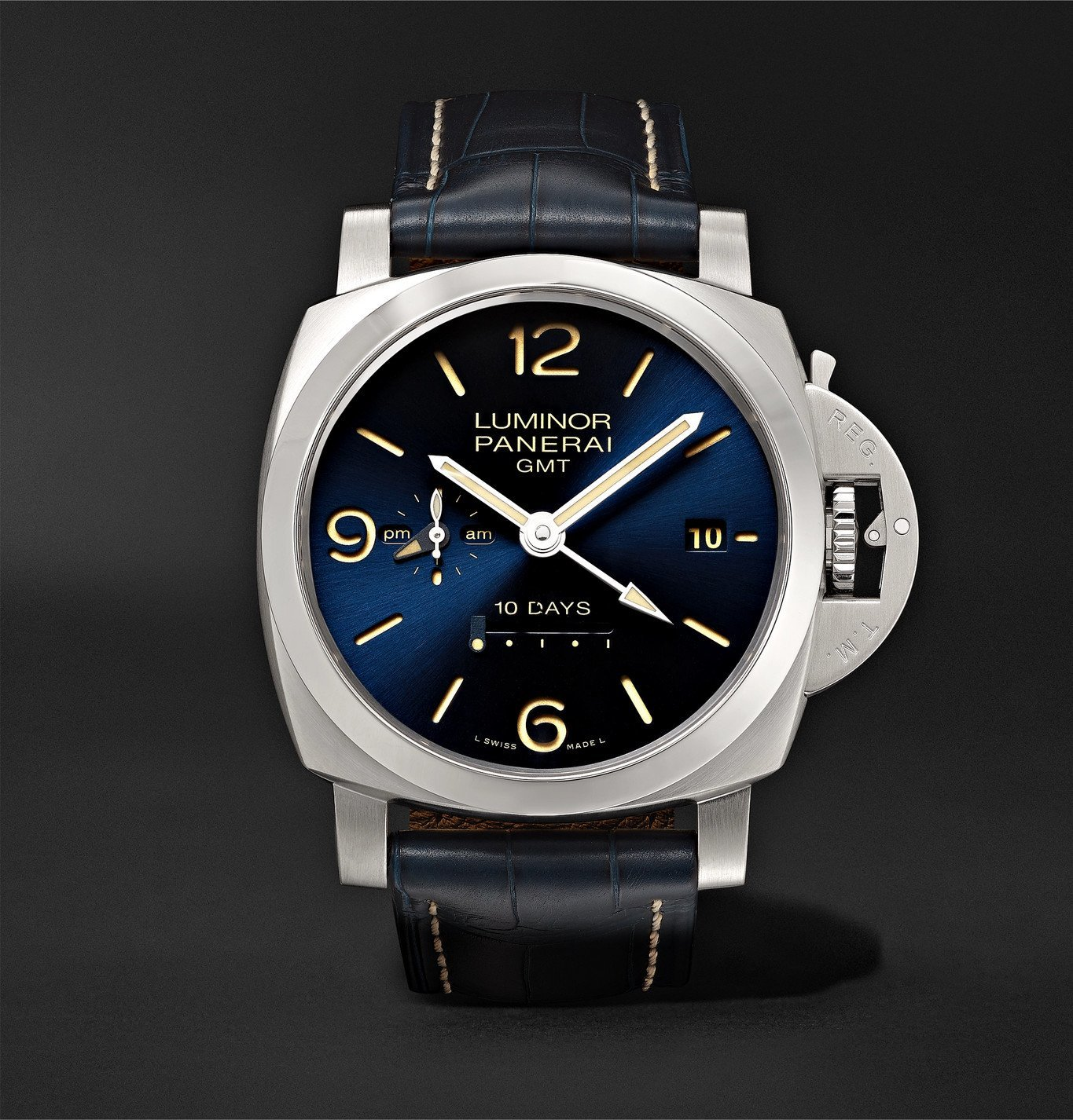 Photo: Panerai - Luminor 1950 10 Days GMT Automatic 44mm Stainless Steel and Alligator Watch, Ref. No. PNPAM00986 - Blue
