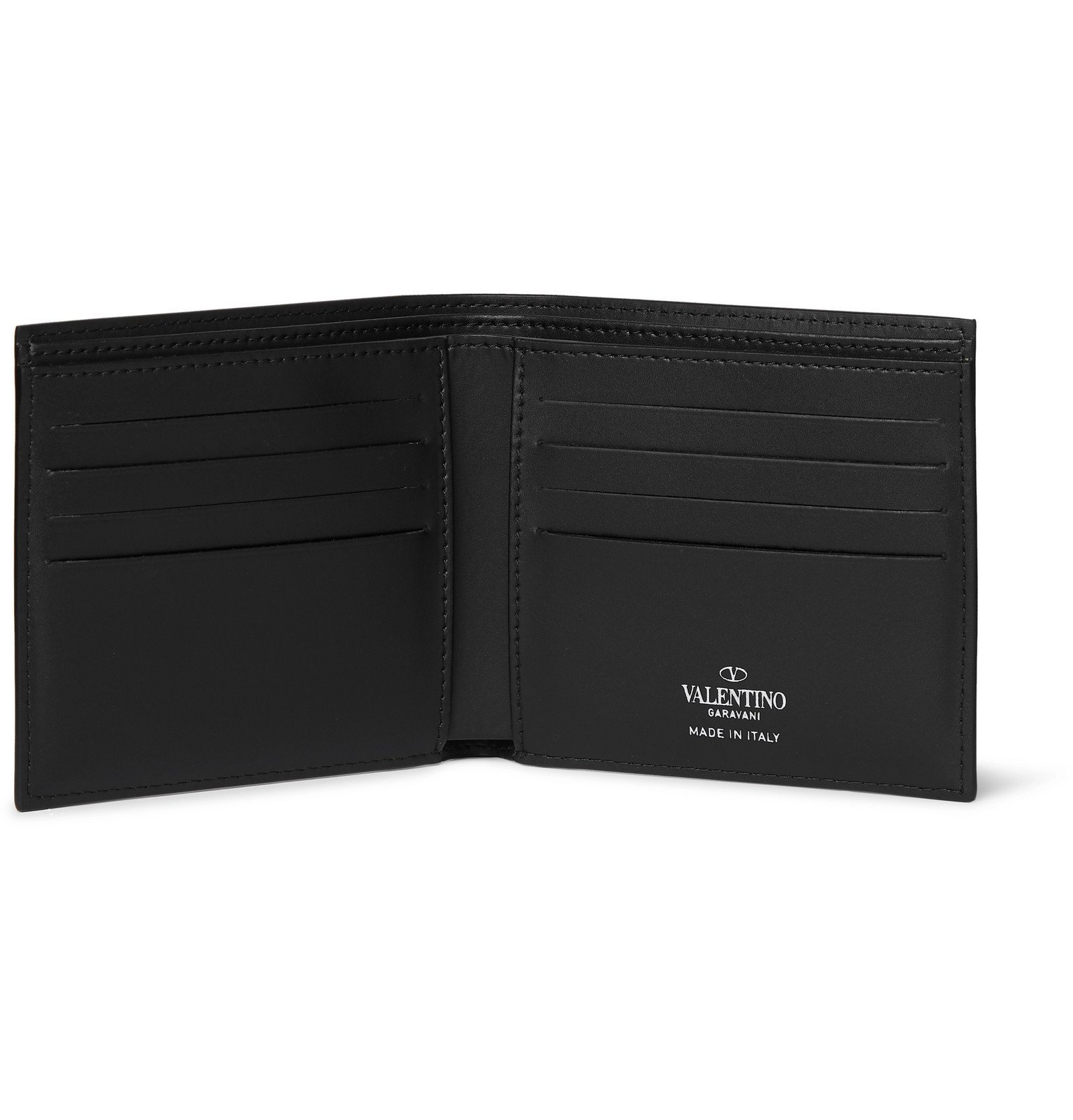 Valentino - Valentino Garavani Logo-Print Leather Billfold Wallet - Black