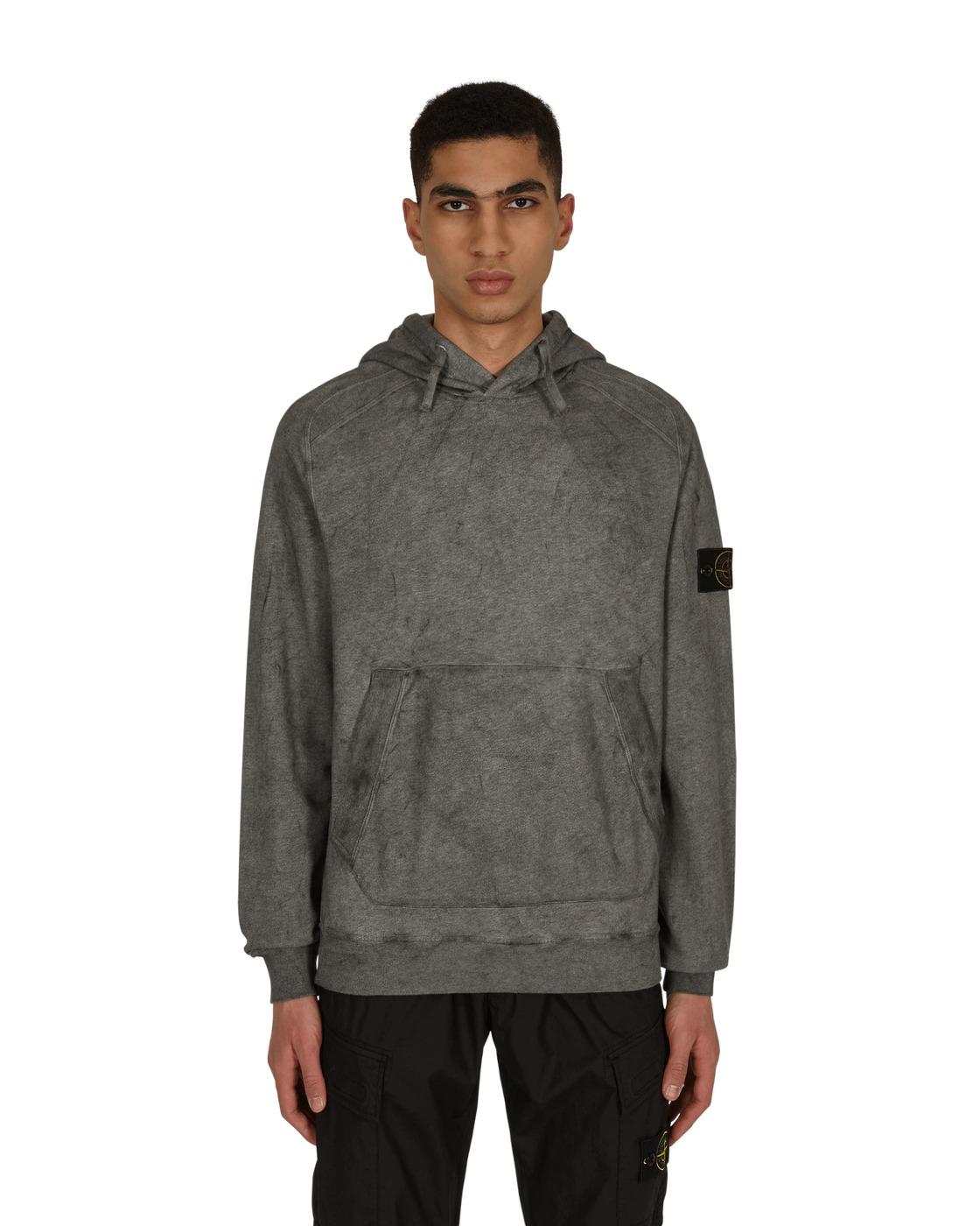 Stone Island Dust Colour Treatment Hooded Sweatshirt Black