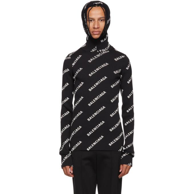 Photo: Balenciaga Black Logo Hoodie Turtleneck