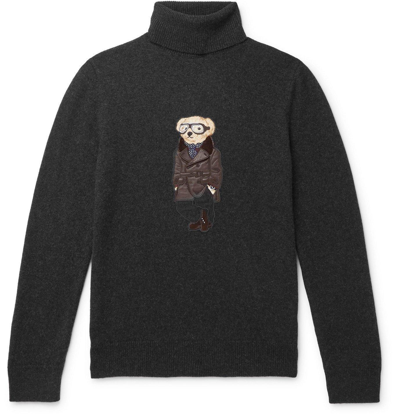 Photo: Ralph Lauren Purple Label - Bear-Appliquéd Melangé Cashmere Rollneck Sweater - Gray