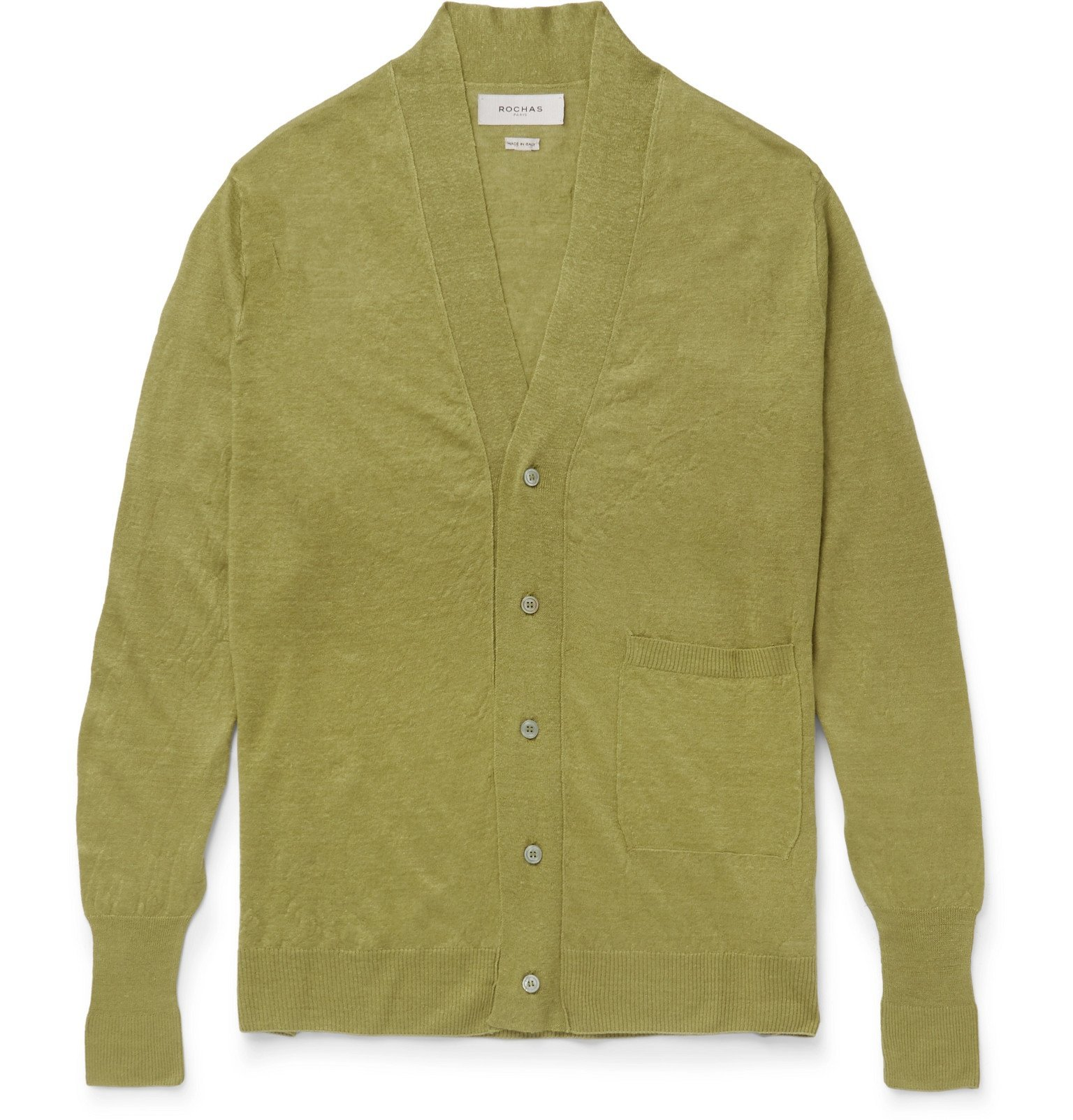 Photo: Rochas - Linen, Cashmere and Silk-Blend Cardigan - Green