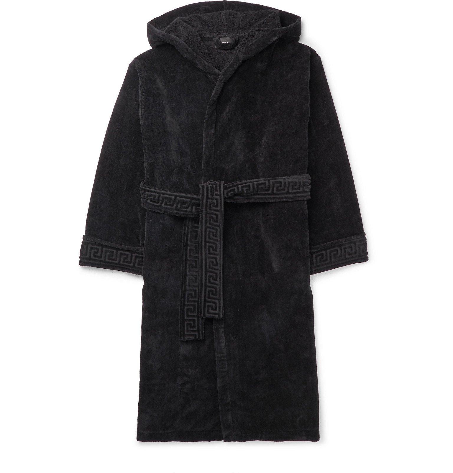 Versace - Logo-Jacquard Cotton-Terry Hooded Robe - Black
