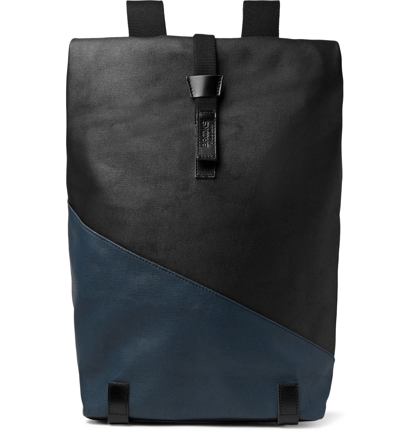 Photo: Brooks England - Pickwick Large Leather-Trimmed Patchwork Coated Cotton-Canvas Backpack - Black
