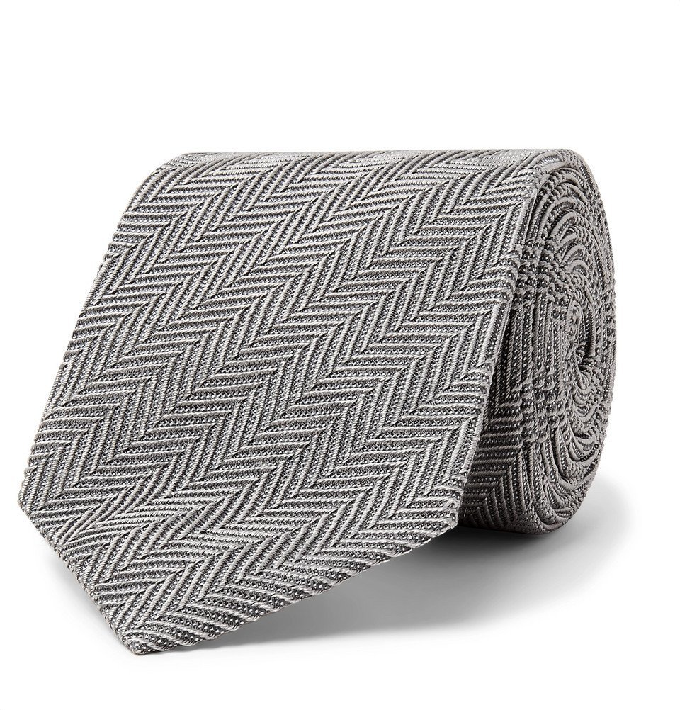 Photo: TOM FORD - 8cm Herringbone Woven Silk and Cotton-Blend Tie - Gray