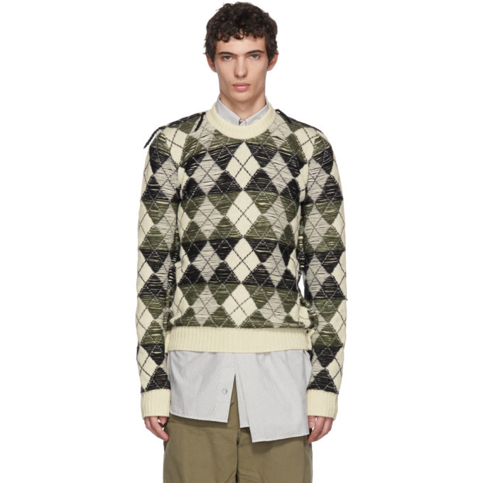 Photo: JW Anderson White Structured Argyle Sweater