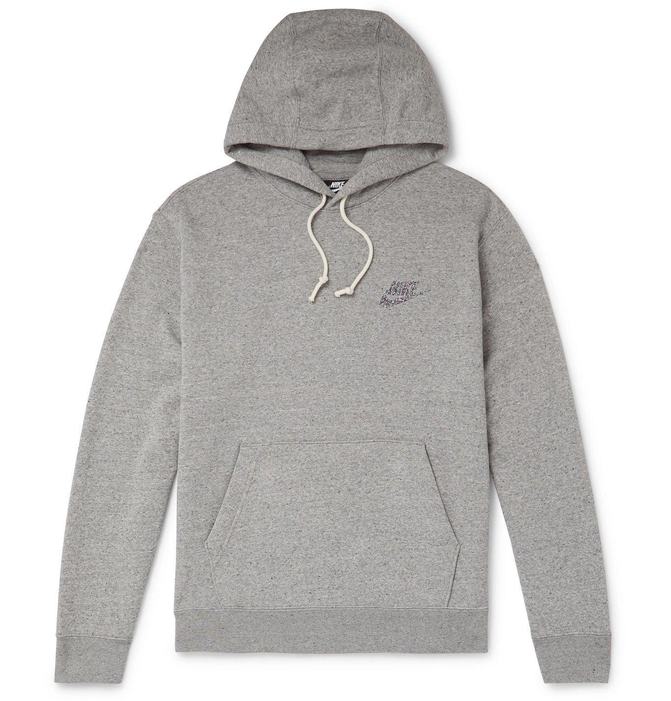 Photo: Nike - Logo-Print Mélange Fleece-Back Cotton-Blend Jersey Hoodie - Gray