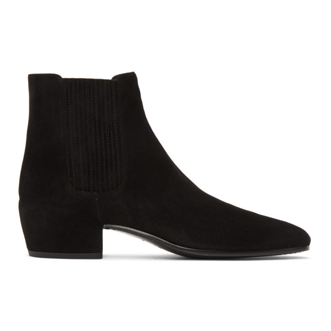 Photo: Saint Laurent Black Suede Caleb Chelsea Boots