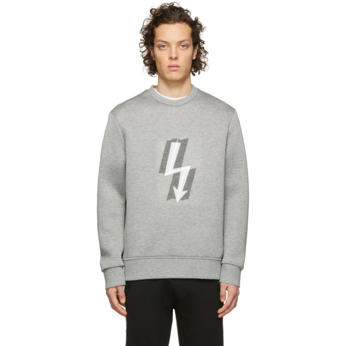 Photo: Neil Barrett Grey Taped Lightning Bolt Sweatshirt