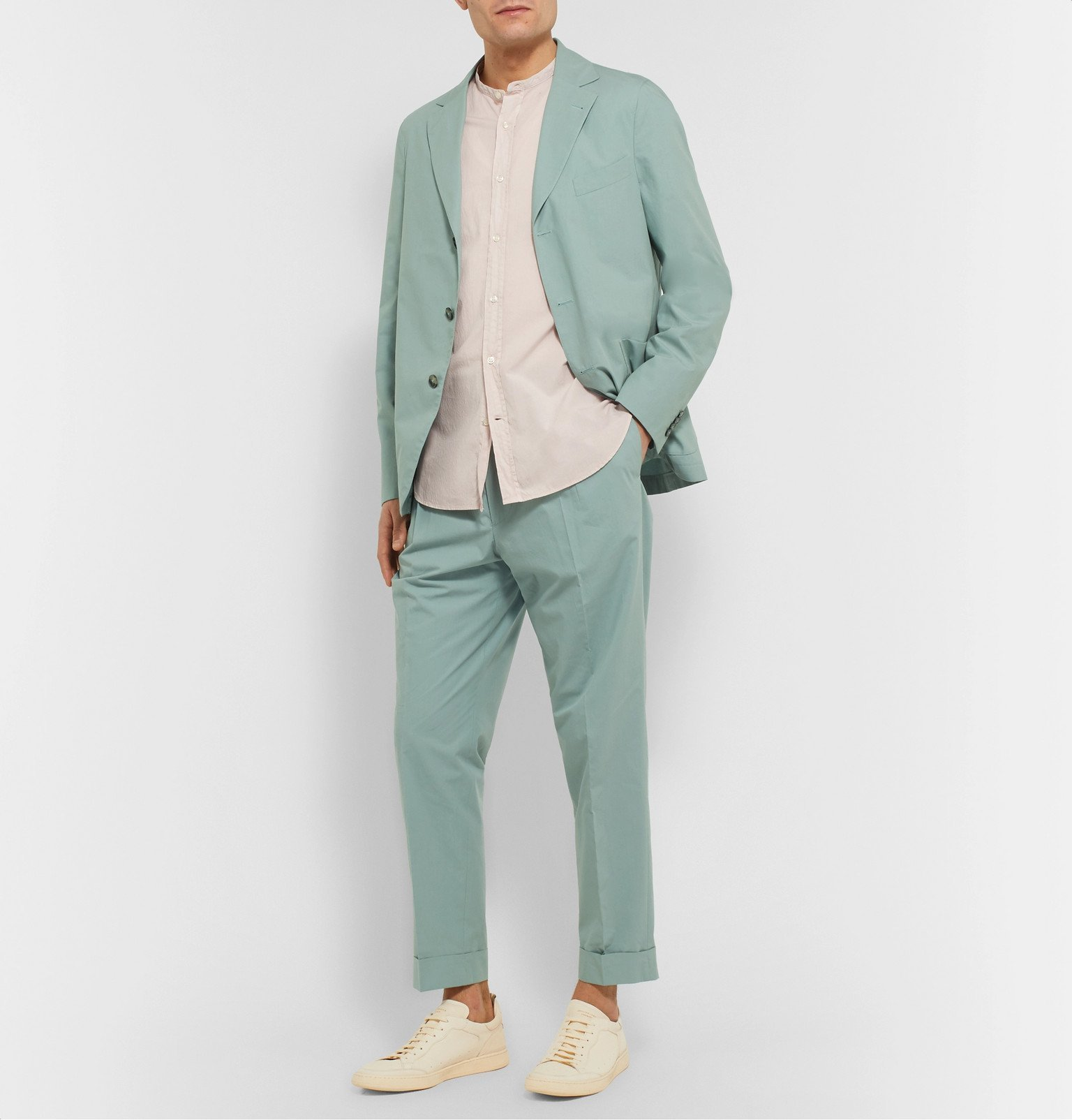 Officine Generale - Hugo Cropped Tapered Pleated Cotton Suit Trousers - Green