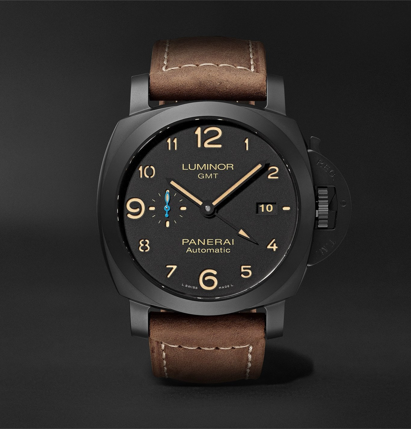 Photo: Panerai - Luminor 1950 3 Days GMT Automatic 44mm Ceramic and Leather Watch, Ref. No. PAM01441 - Black