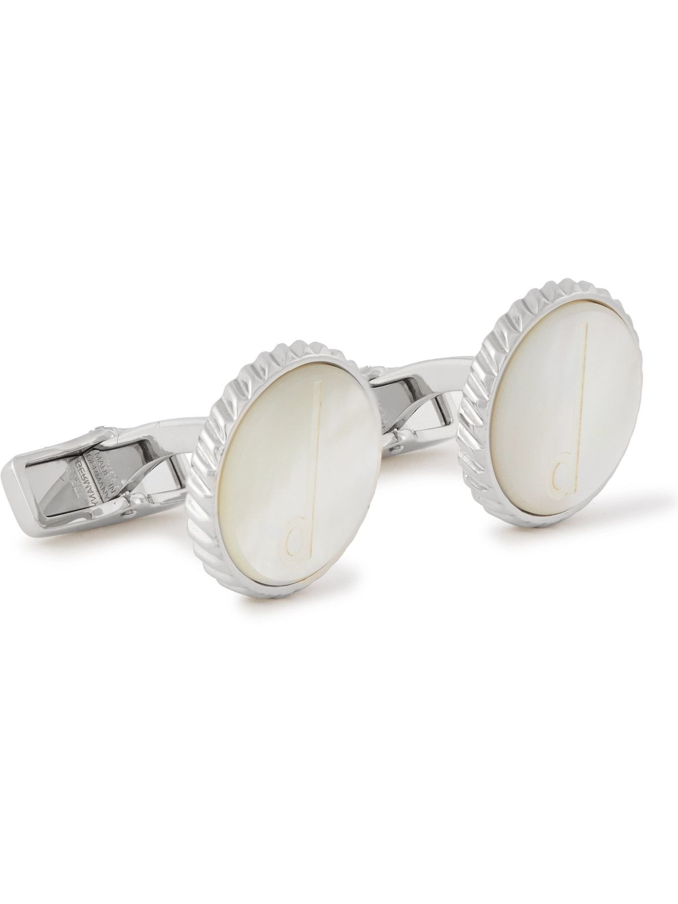 DUNHILL - Engraved Mother-of-Pearl and Steel Cufflinks