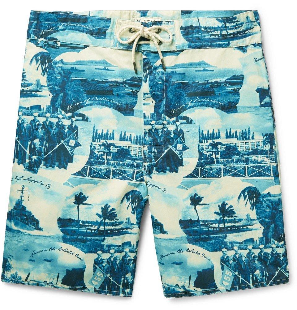 RRL - Long-Length Printed Swim Shorts - Blue