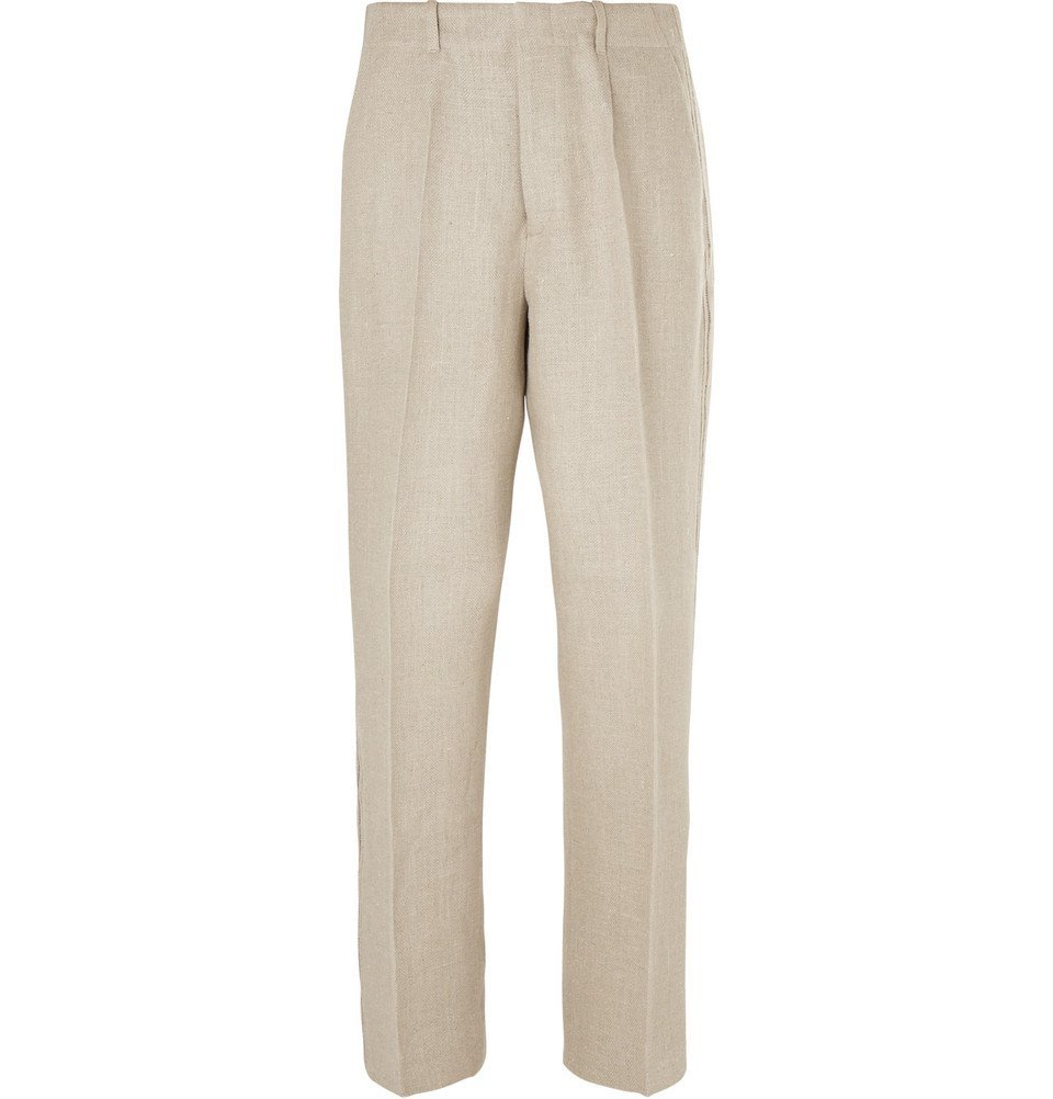 Photo: Our Legacy - Striped Herringbone Linen Trousers - Neutral