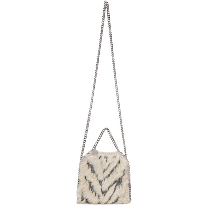 Stella McCartney Beige and Pink Faux-Fur Tiny Falabella Bag