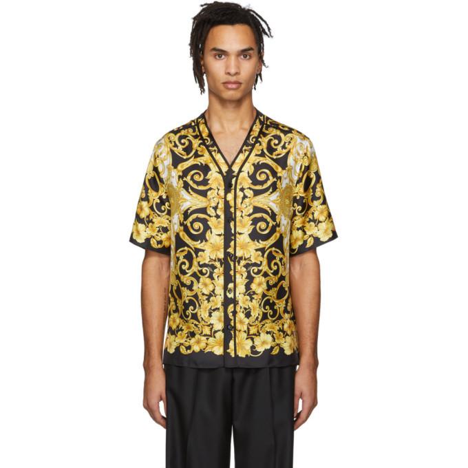 Photo: Versace Black and Yellow Silk Hibiscus Shirt