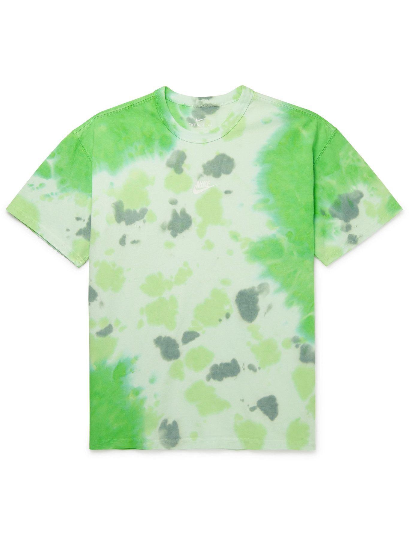 Photo: NIKE - NSW Logo-Print Tie-Dyed Cotton-Jersey T-Shirt - Green