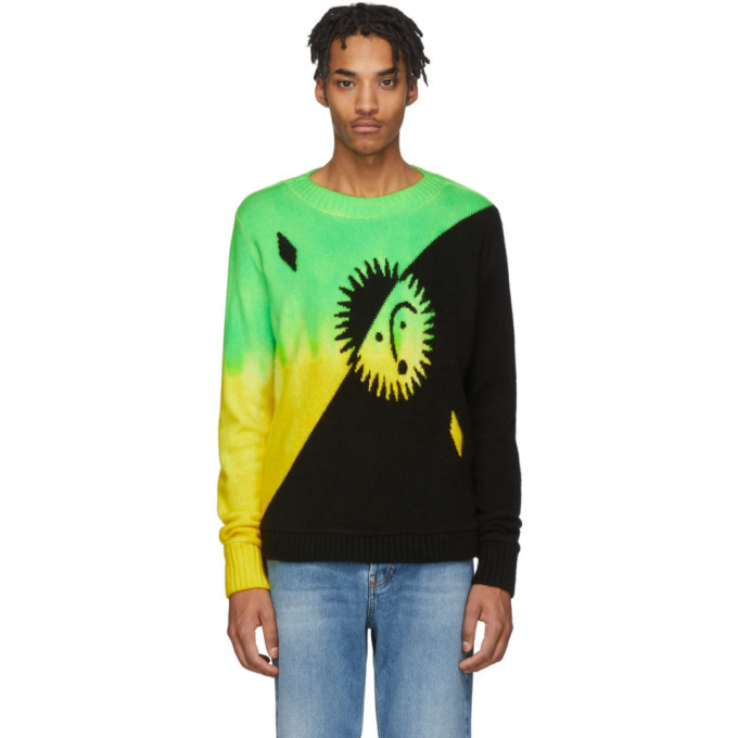 Photo: The Elder Statesman Green and Yellow Cashmere Intarsia Sun Sweater