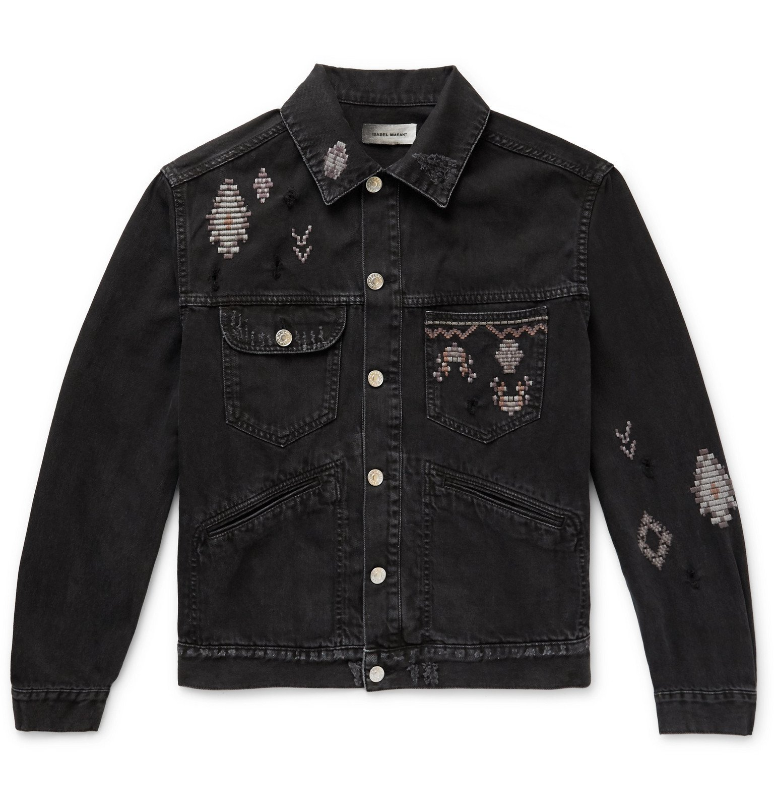 Photo: Isabel Marant - Embroidered Distressed Denim Jacket - Black