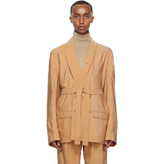 Photo: Lemaire Tan Silk Double-Breasted Belted Blazer