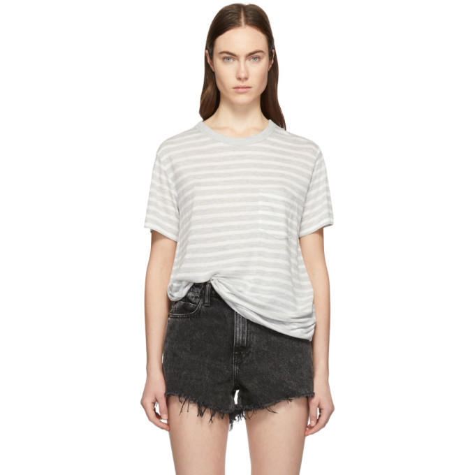Photo: alexanderwang.t Grey and White Slub Jersey Pocket T-Shirt