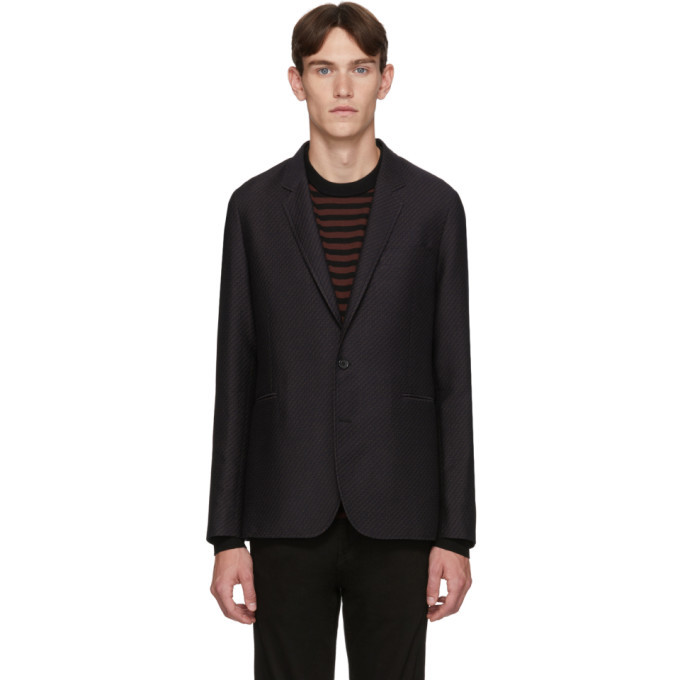 Photo: PS by Paul Smith Navy and Brown Wool Zig-Zag Mid-Fit Blazer