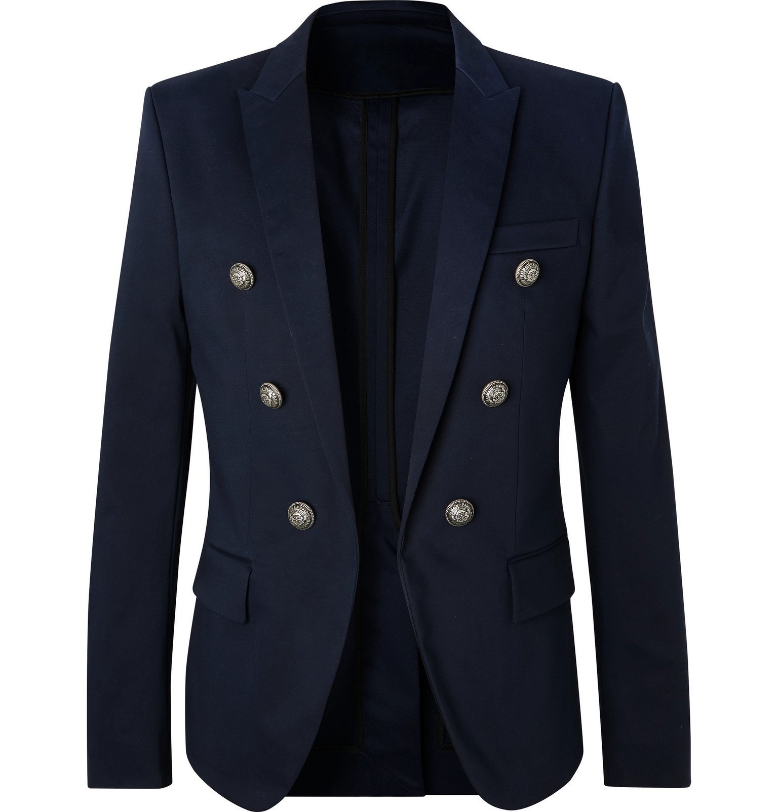 Photo: Balmain - Navy Slim-Fit Cotton-Blend Blazer - Blue