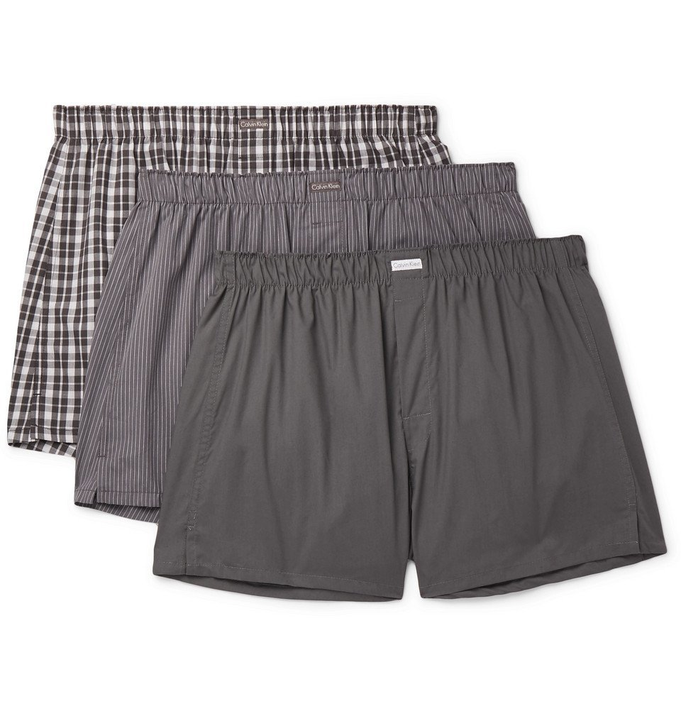 Photo: Calvin Klein Underwear - Three-Pack Cotton-Blend Boxer Shorts - Gray