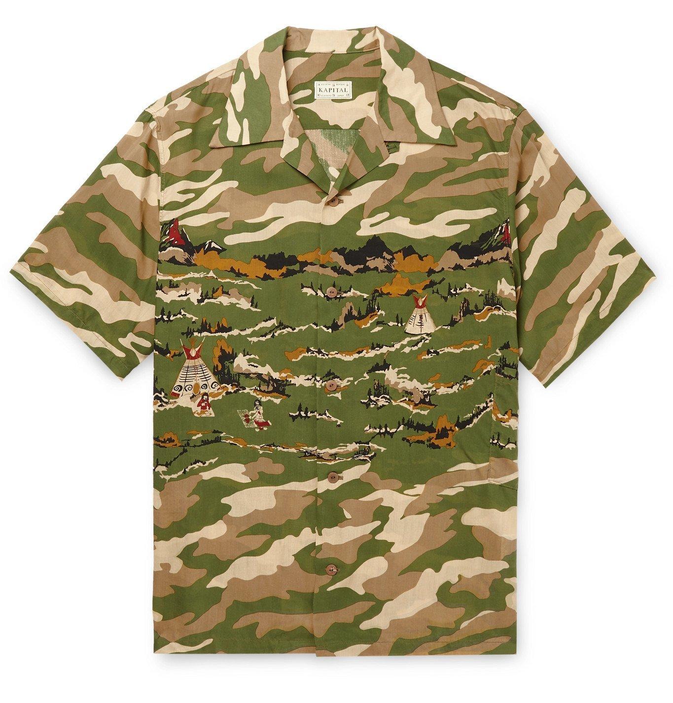 KAPITAL - Camp-Collar Camouflage-Print Woven Shirt - Green