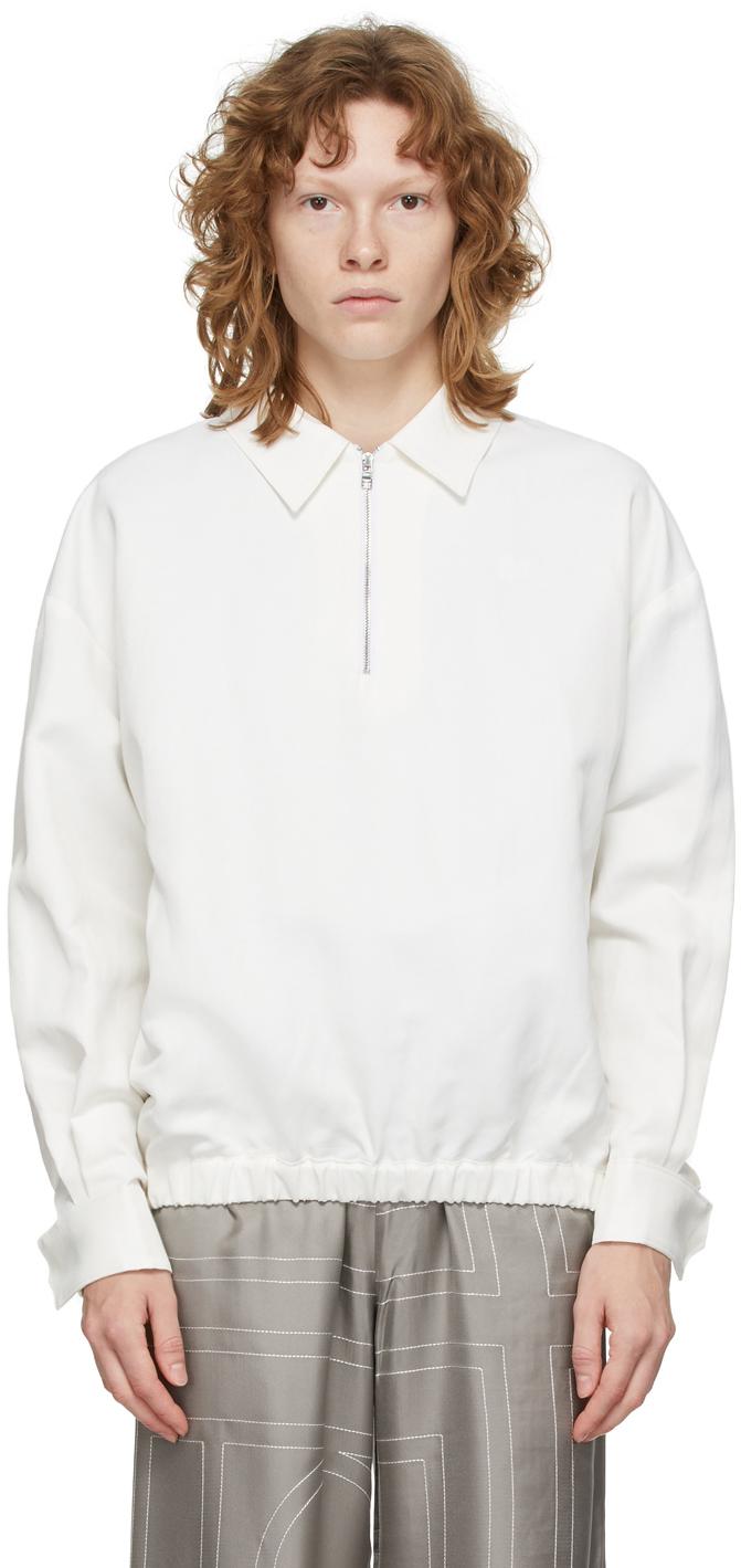 Photo: Totême White Monogram Tracksuit Zip-Up Jacket